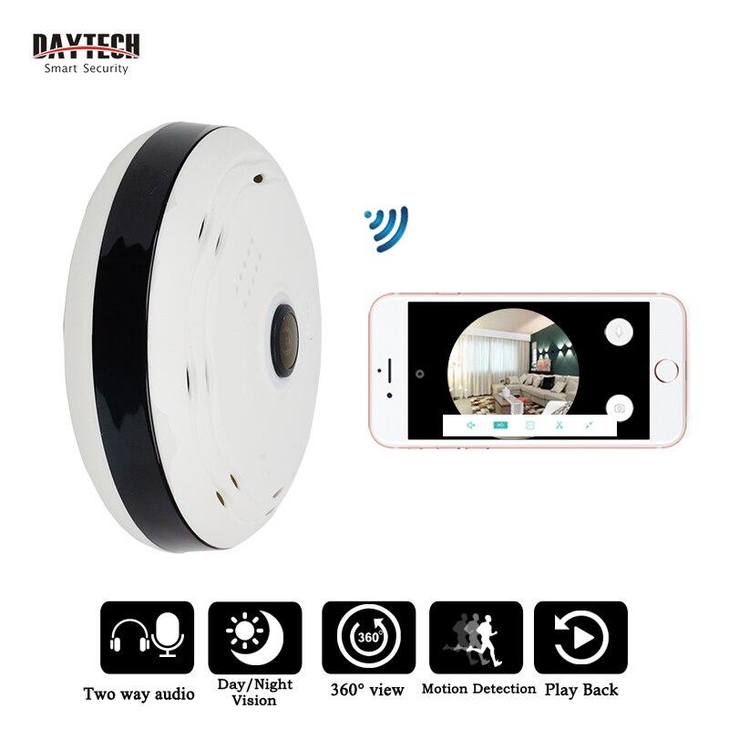 DAYTECH IP Caméra Sans Fil WiFi Panoramique Caméra de Sécurité Réseau Moniteur Fisheye 360 degrés Pleine Vue Deux Voies Audio IR