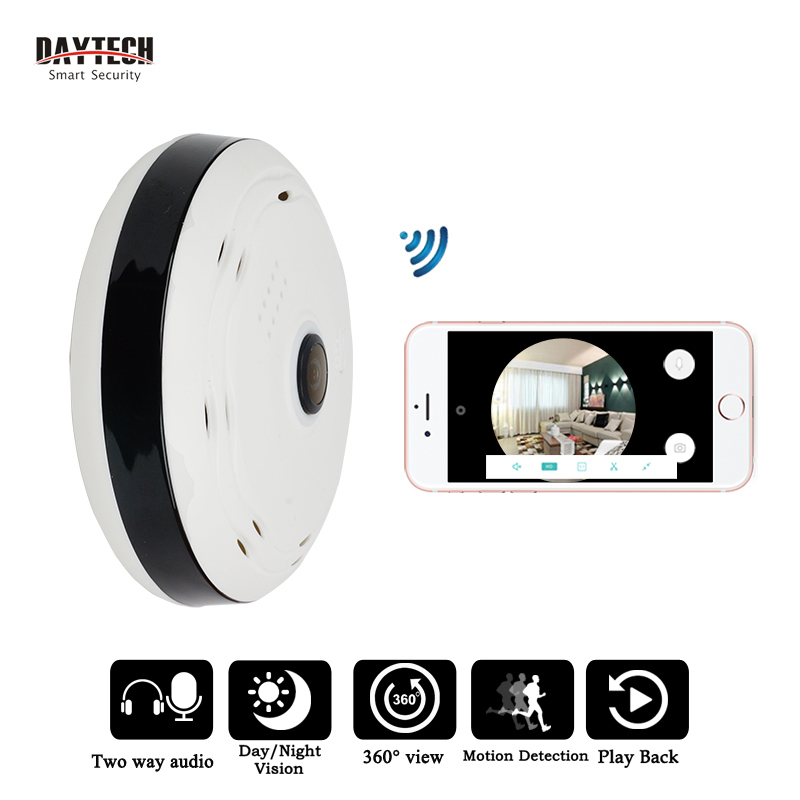 DAYTECH IP Camera Wireless WiFi Panoramic Camera Security Network Monitor Fisheye 360 Full degree View Two Way Audio IR