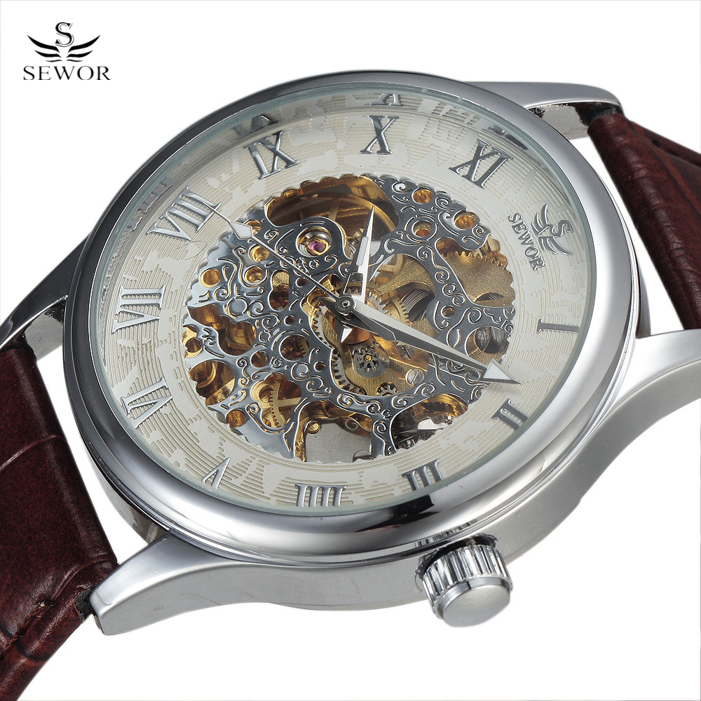 Top Brand Mechanical Wristwatches Dress Clock Automatic Self Wind Roman Dial Fashion Men Skeleton Wrist Watch relogio masculino ks black skeleton gun tone roman hollow mechanical pocket watch men vintage hand wind clock fobs watches long chain gift ksp069