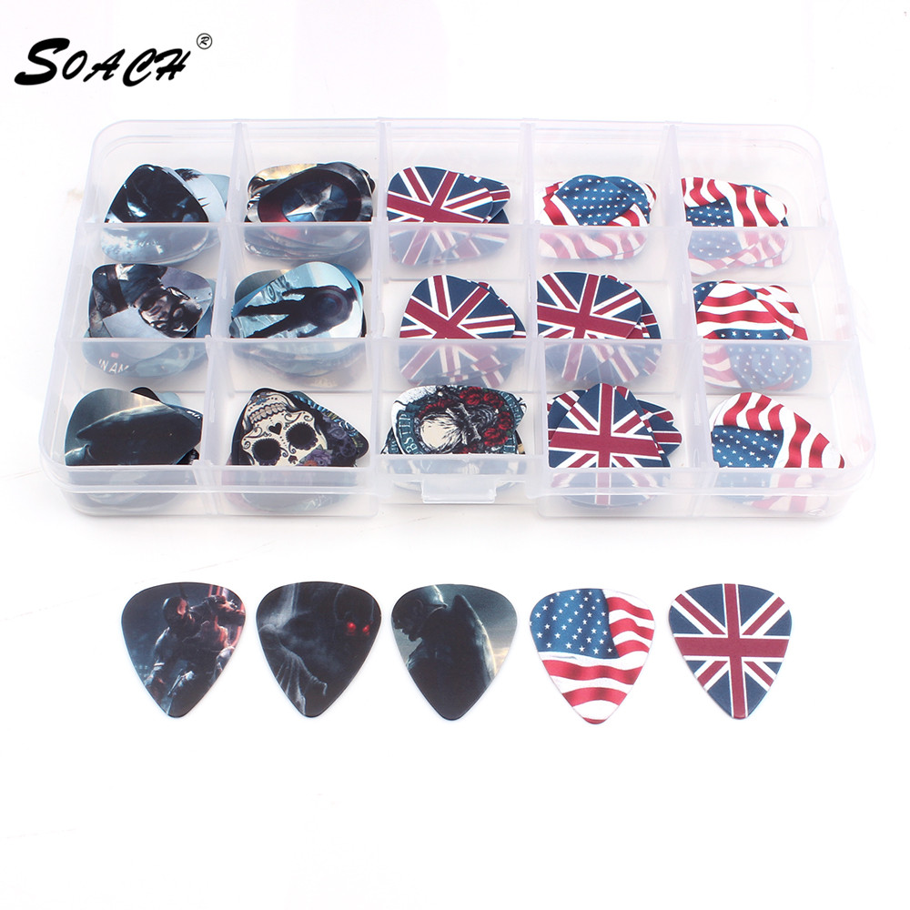 SOACH 100PCS Acoustic guitar Pick box 0.46 0.71 1.0  plectrum standard size mix pick thicknesses ukulele guitar accessories 100pcs acoustic electric guitar picks parts acoustic celluloid plectrum multi 0 46 0 71mm classical guitar pick