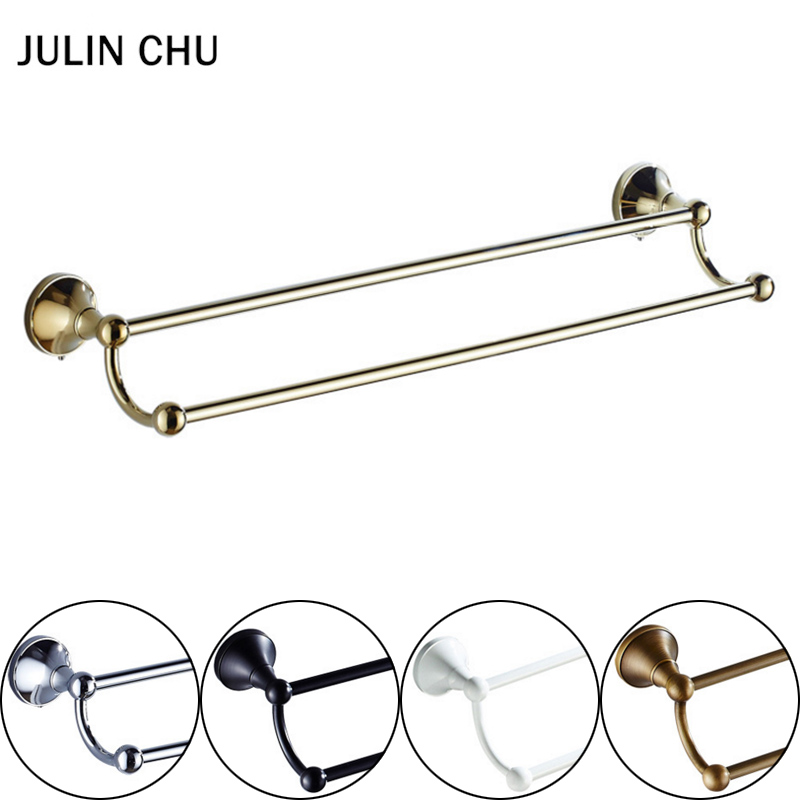 Gold Towel Rail Black Chrome Antique White Towel Holder Bronze Brass Wall Mounted Kitchen Bathroom Double Towel Bar Holder Rack aluminum wall mounted square antique brass bath towel rack active bathroom towel holder double towel shelf bathroom accessories