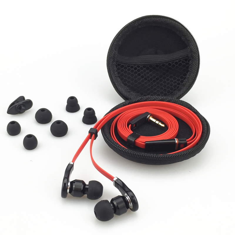 Good Sound Quality Brand 3.5mm Plastic and Metal Earphone Headphone Headset with Mic + Box