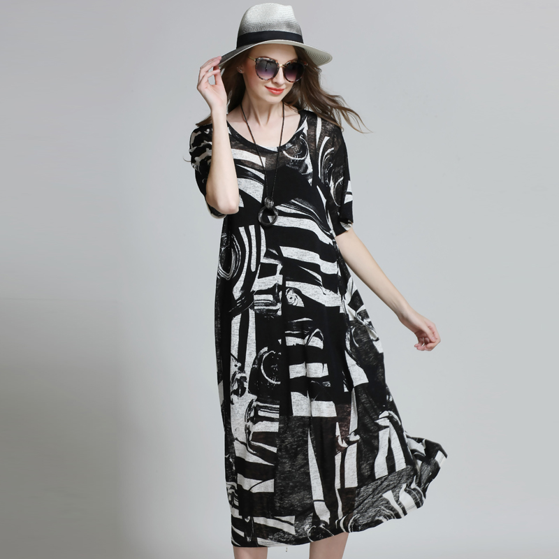 Women Loose Black White Plus Size See Through Oversize Casual Beach Knitted Midi Dress Vestidos xl,2xl,3xl,4xl lc6181 2 ruched wrap midi dress black free size