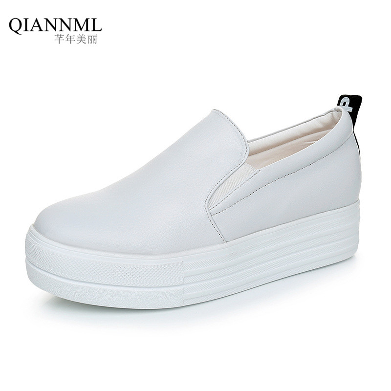 ФОТО New 2017 Spring Autumn Women's Platform Shoes Split Leather Flats Slip on Women Loafers Driving Moccasins
