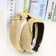 Helisopus Straw Headband Solid Knotted Hairbands 2019 Summer New Hair Hoop Handmade Headwear Women Hair Accessories(China)