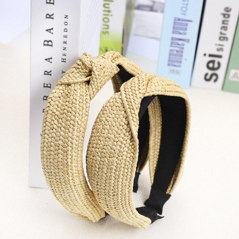 Helisopus Straw Headband Solid Knotted Hairbands 2019 Summer New Hair Hoop Handmade   Headwear   Women Hair Accessories