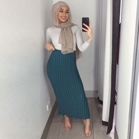 Musulman Long Warm Skirts 2019 High Waist Chiffon Pleated Muslim Skirt Women Abaya Dubai Arabic Elbise Turkey Islamic Clothing