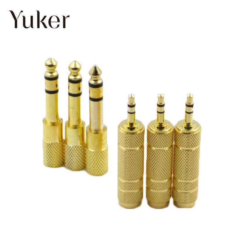Yuker 2 Size Guitar Headset Adapter 6.3MM Male to 3.5MM Female Jack Plug Audio Headset Microphone 6 35mm male to 3 5mm female stereo audio adapter for speaker microphone golden black 2 pcs