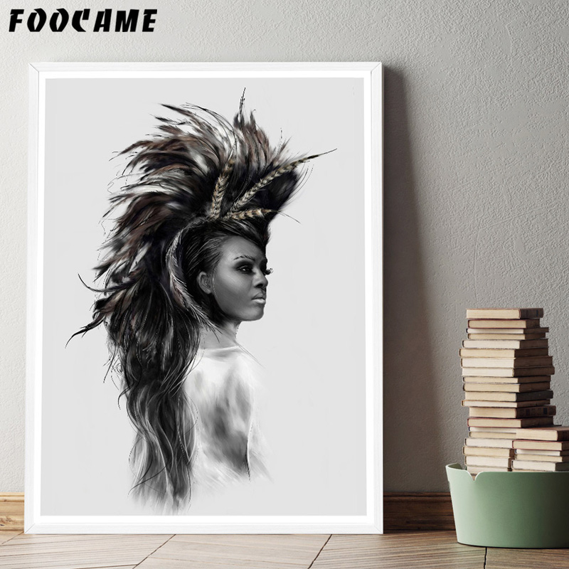 Foocame Indians Women Feather Abstract Nordic Posters And