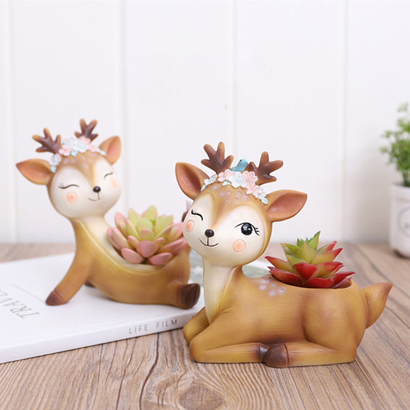 2019 Flower Pot Home Decoration Accessories Figurines Succulent Plant Pots Balcony Modern Multi Deer Animal Resin Crafts-in Flower Pots & Planters from Home & Garden