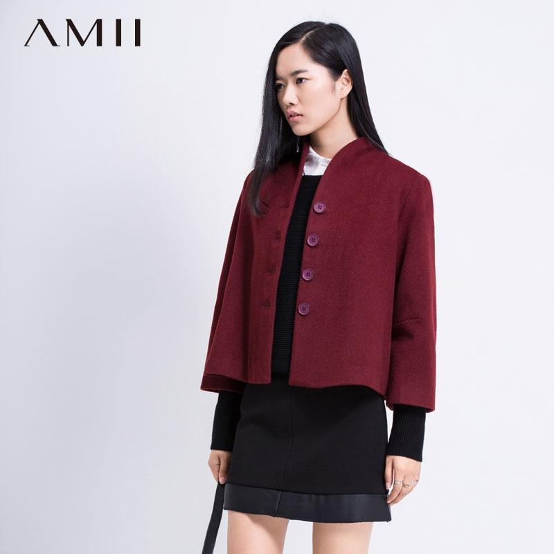 Amii Casual Minimalist Women Woolen Coat 2018 Winter Mandarin Collar Single Breasted Solid Short Female Wool Blends