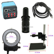 Best price 1080P 14MP HDMI USB Digital Industry Video Microscope Camera 10X-180X Optical C-Mount Lens LED Light Adjustable Lift Bracket