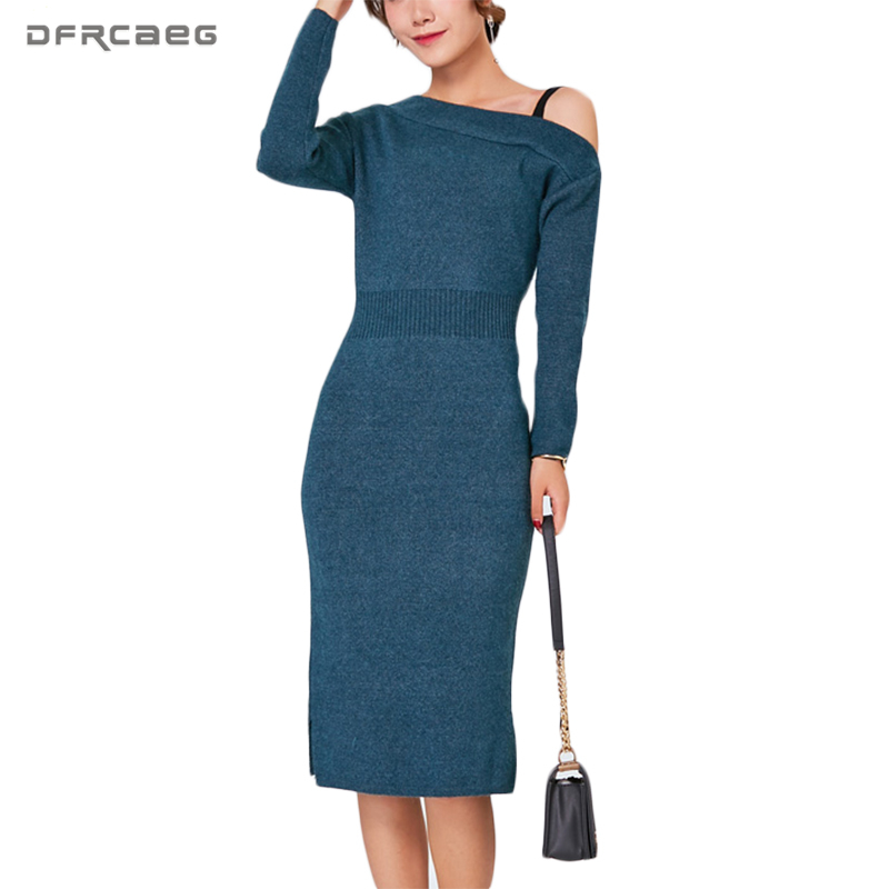 New Fashion Sexy Slash Neck Spring Sweaters Dresses Off Shoulder Split Elegant Vestidos Knitted Bodycon High Waist Pencil Dress