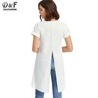 Dotfashionスリットバックtシャツ女性ホワイト高低ディップ裾簡単なセクシーな夏のトップス2017新しい半袖ノベルティ女
