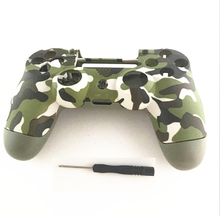 A set Case Front+back Upper Under Shell Housing Cover for Sony PS4 Pro DualShock 4 Pro Controller JDS040 JDM040 Green Camouflage