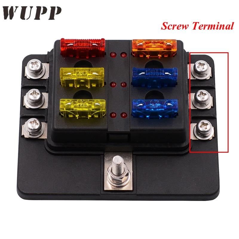 Wupp Fuse Box 6 Ways Block Holder Circuit Car Fuse Box With Cover Led Indicator 32v Quick