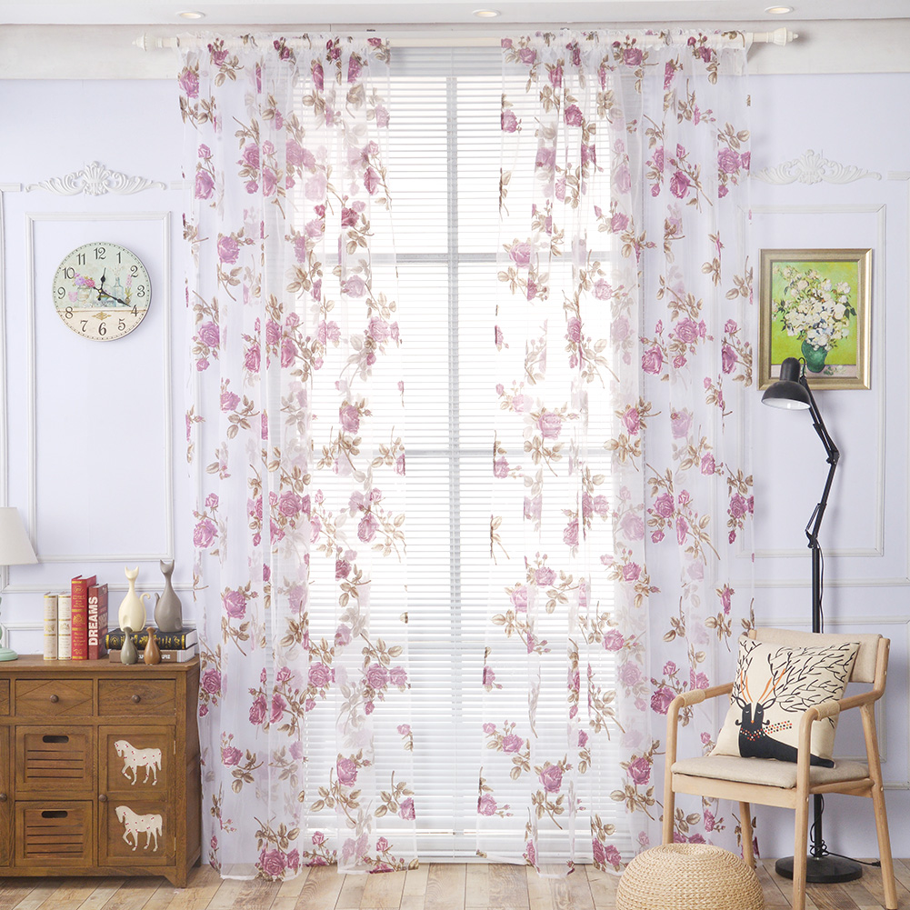 Valance curtains for bedroom - 2017 Modern Curtains For Bedroom Sitting Room Rose Floral Tulle Clear Window Screening Drape Valances Curtain
