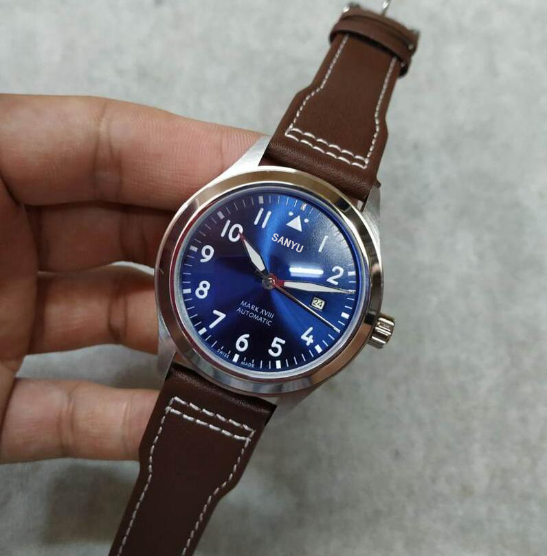 1887 Sports Men High Quality Belt Gentlemen Blue Ocean IW Brown Leather Sapphire Pilot Royal Leisure Watch Automatic mechanical(China)