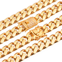 Beichong Stainless Steel Jewelry Gold Filled Plated High Polished Miami Cuban Link Necklace Men Punk Curb Chain 24/28/30