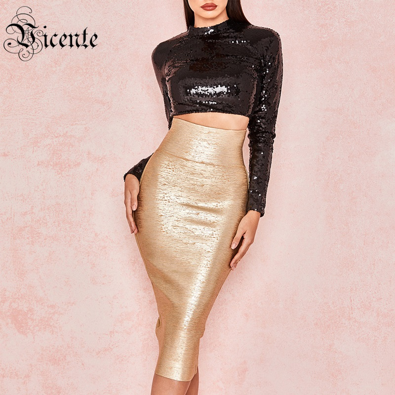 Vicente 2019 New Two Pieces Set Black Sequins Golden Oil Print Long Sleeves Mid Skirt Celebrity