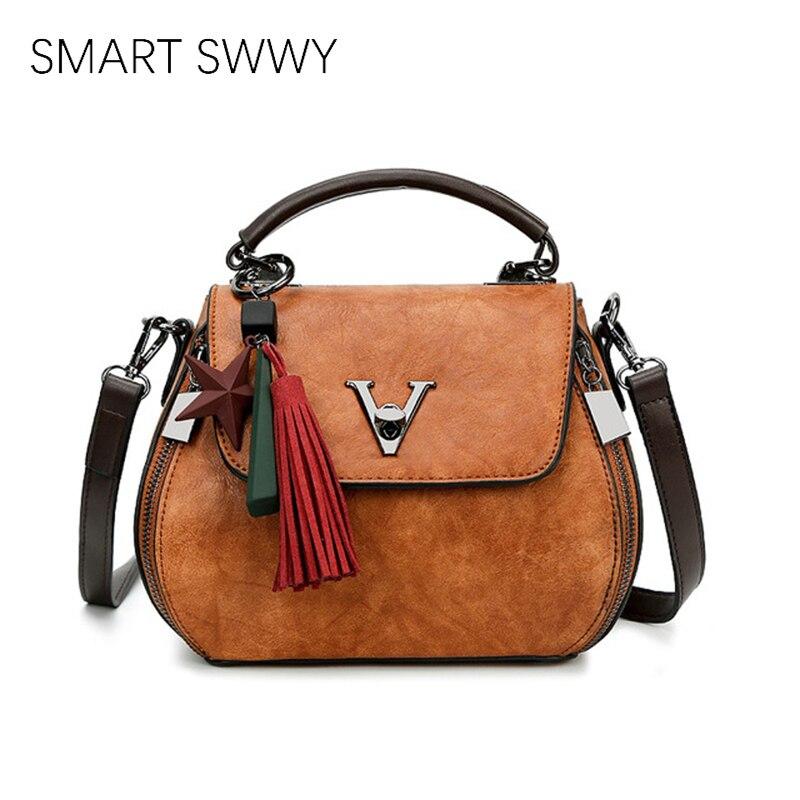 2019 Genuine Leather Women Bags V Letters Designer Handbags Luxury Lady Shoulder Crossbody Bag Tassel Women Brand Messenger Bag
