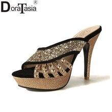 DoraTasia 2018 Big Size 32-46 Мода Lady's Party мулы насосы Черный Красный Тонкий Высокий каблук Клинья Женщины Топ продажи женщин Обувь Женщина