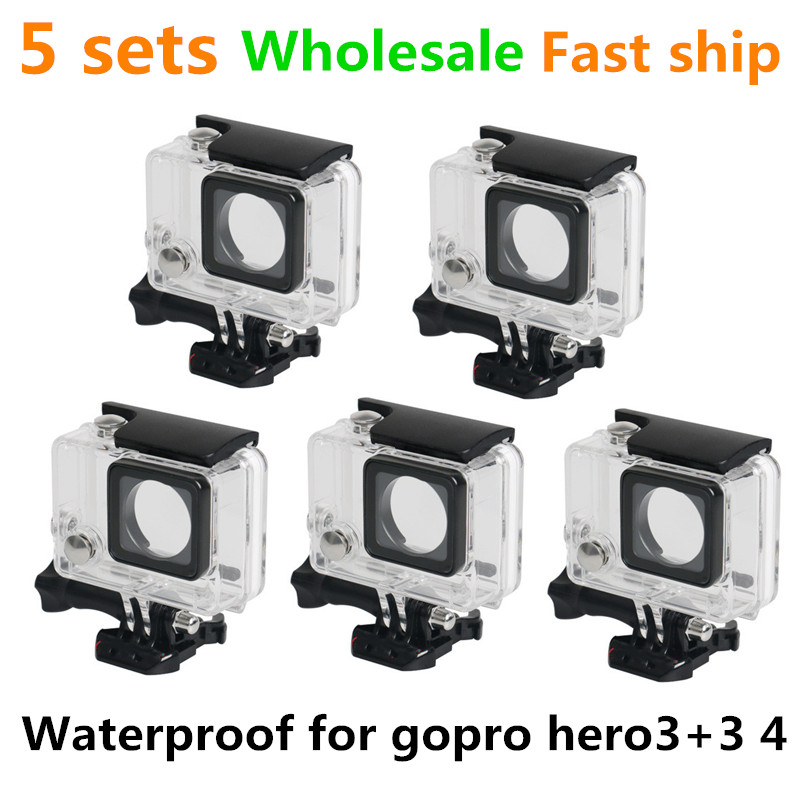 5 sets wholesale Camera shooting photography Waterproof case housing for gopro hero3+3 4 45meter mountaineering parachuting