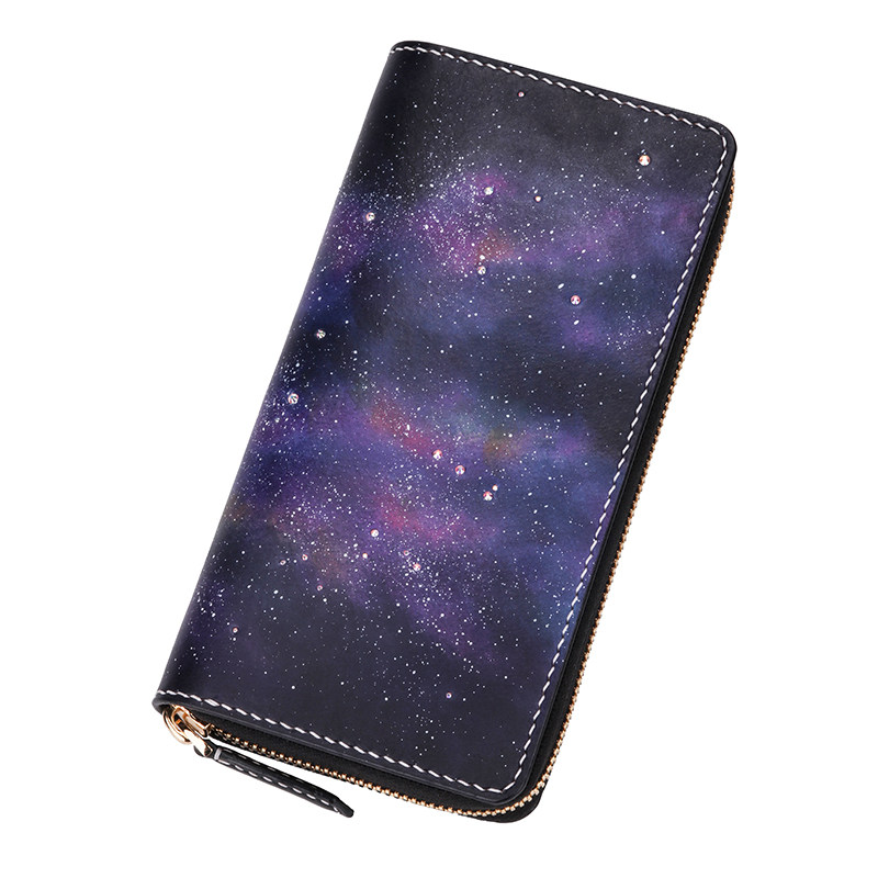 Handmade Genuine Leather Bright Romantic Starry Sky Wallets Inlaid Crystal Purses Women Clutch Vegetable Tanned Leather WalletHandmade Genuine Leather Bright Romantic Starry Sky Wallets Inlaid Crystal Purses Women Clutch Vegetable Tanned Leather Wallet