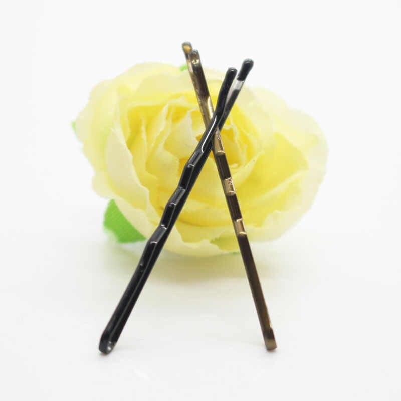 100 יח'\סט שחור/חום פשטות קלאסית לשימוש יומיומי בובי סיכות שיער קליפים לילדה/נשים אבזרים לשיער סיטונאי