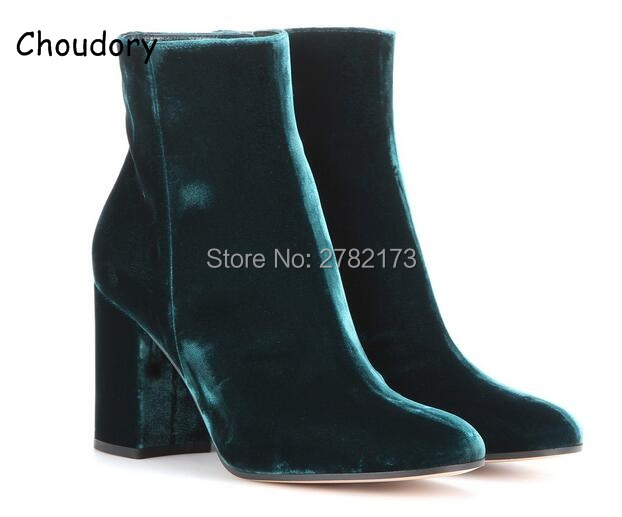 2018 Velvet Round Toe Lady Sexy Ankle Booties Autumn Winter Chunky Heels Woman Fashion Short Boots Blue Green High Heels Shoes flat booties work military combat short female fall 2017 autumn shoes green suede women ankle boots 2016 round toe fashion