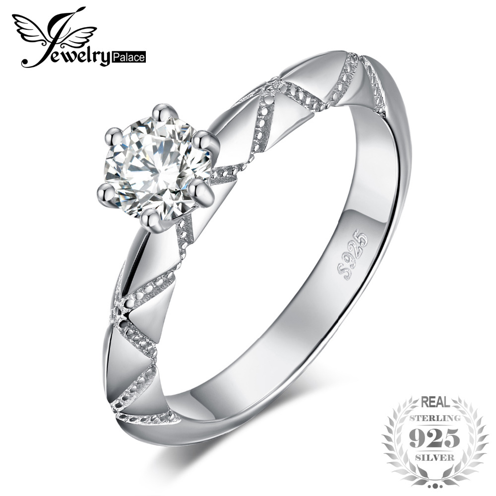 JewelryPalace Engraved Geometric 0.2ct Cubic Zirconia Solitaire Engagement Ring 925 Sterling Silver Trendy Jewelry Gift For Wife