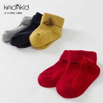 Kacakid cotton socks girl turns the childrens spring socks comfortable and warm full cotton princess socks