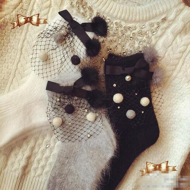 Принцесса сладкий лолита носки корейский стиль чистый пряжа волосяная луковица с бантом плюшевый кролик волосы мяч носки DW23