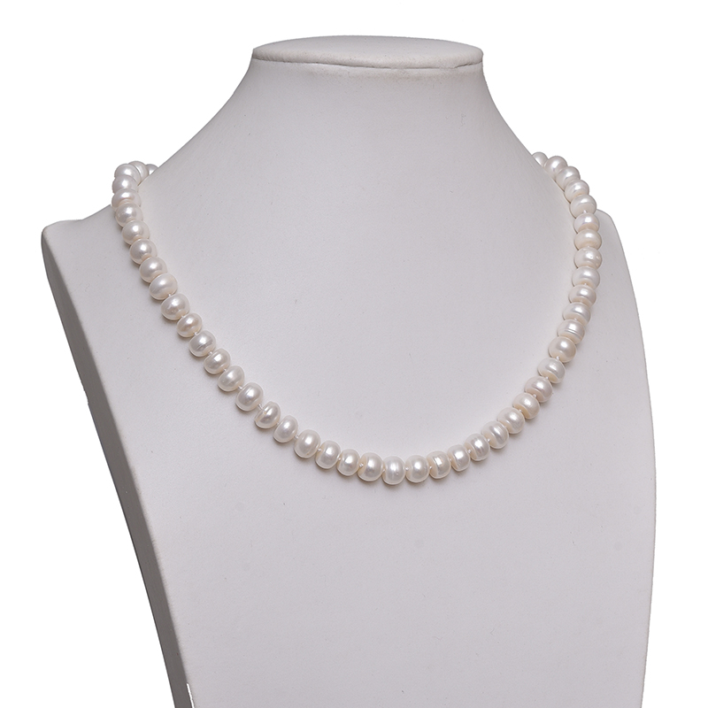6*8mm Simple and Pure natural fresh water white pearl with generous round necklace findings 19inch wholesale