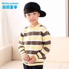 Spring and Autumn 100% Cotton Boy Sweater Basic Shirt Child Sweater Children's Clothing Pullover O-neck Striped Clothes for Kids