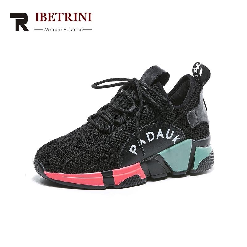 39 Ribetrini Mode Noir Nouvelle Femme Sneakers Couleurs Printemps 35 Synthétique Casual Souple Appartements Chaussures Mélangées Dentelle up Taille rarTq5x
