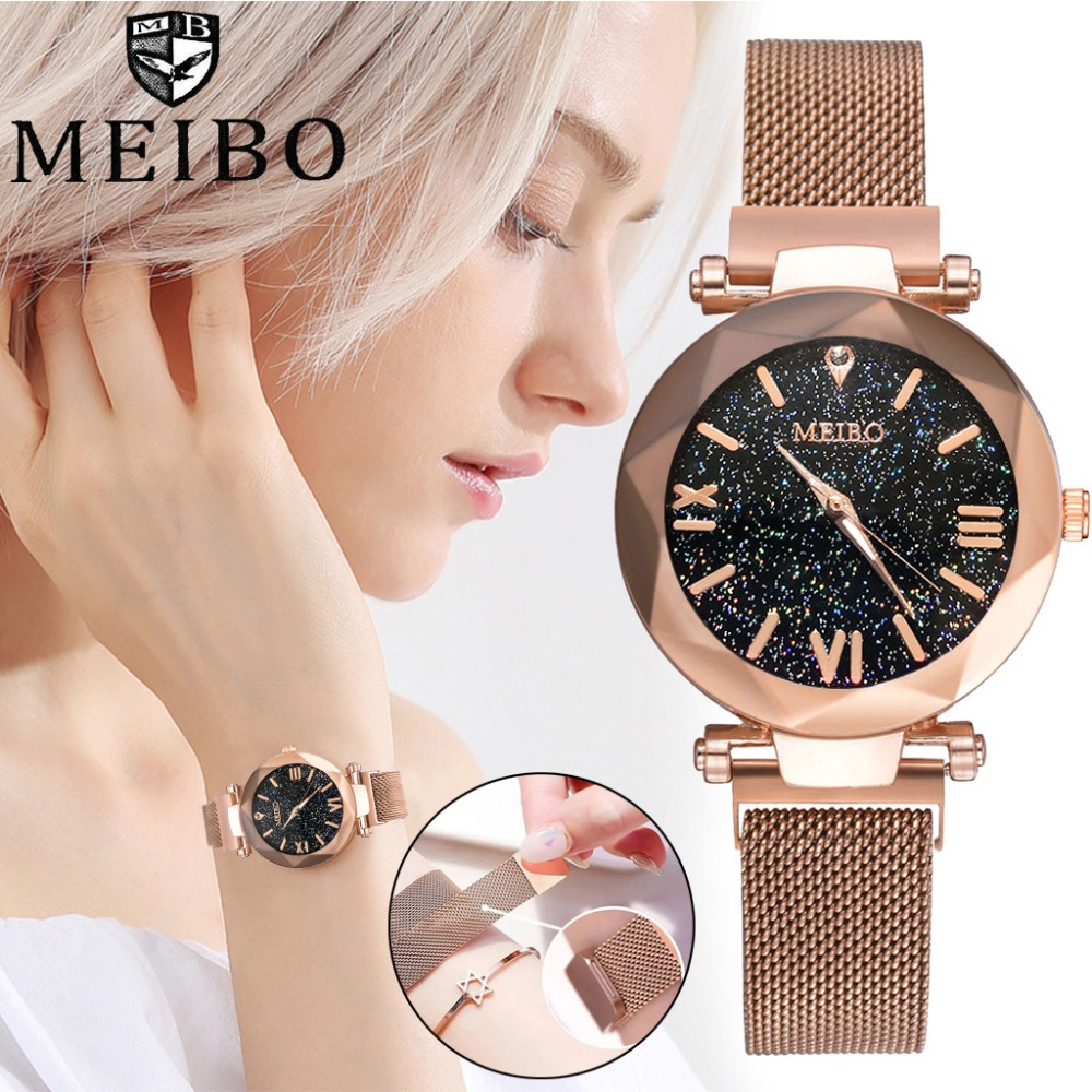 Best Selling Women Mesh Magnet Buckle Starry Sky Watch Casual Women Geometric Surface Quartz Watches  FemininoBest Selling Women Mesh Magnet Buckle Starry Sky Watch Casual Women Geometric Surface Quartz Watches  Feminino
