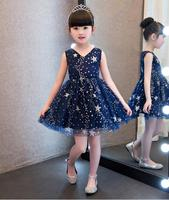 2017 Elegant V Neck Children Kids Baby Girls Dress Stars Sequins Tulle Bow Toddler Tutu One