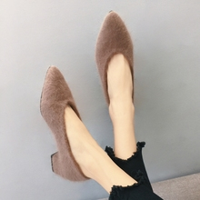 Single women shoes in the fall and winter of 2017 new joker thick with pointed gourd ladle with han edition maomao shoes in shoe