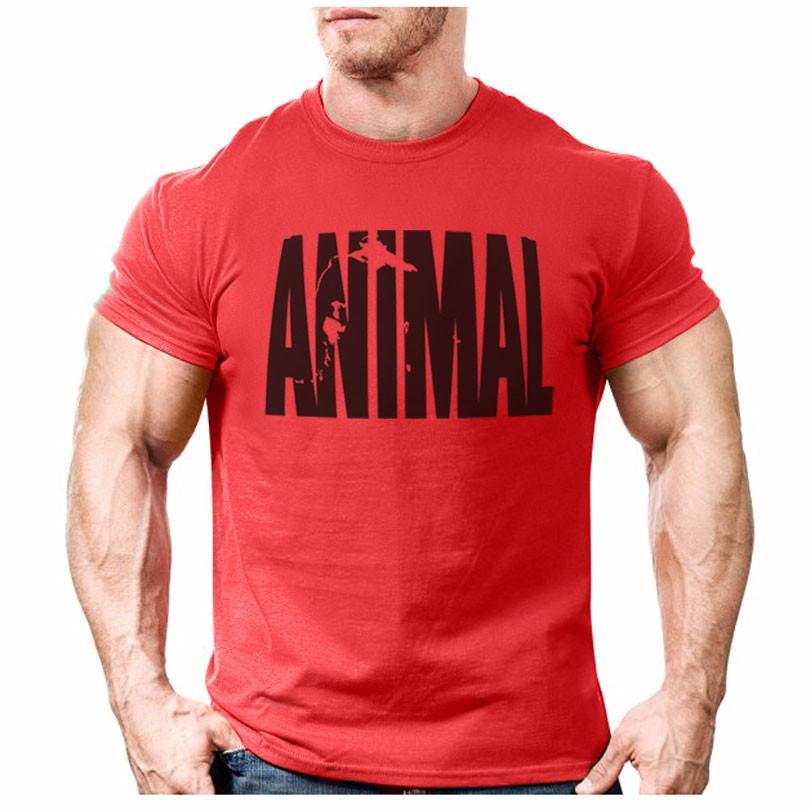 животных печать костюм футболка облегающая рубашка тенденции в 2016 фитнес хлопок марка одежда для мужчин bodybuilding футболка большой ххl