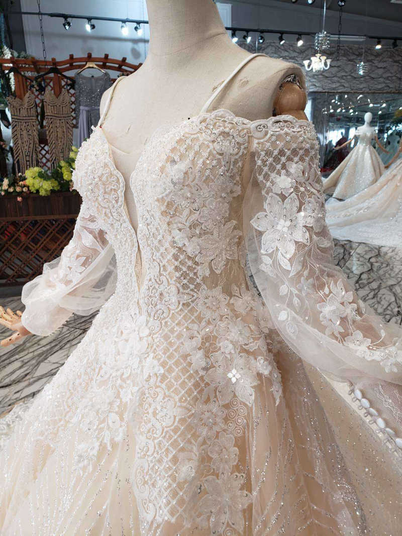 HTL197 בוהמי חתונת שמלת ספגטי רצועות מתוקה ארוך שרוול בעבודת יד חתונה שמלות פשוט הכלה חוף שמלות כלה