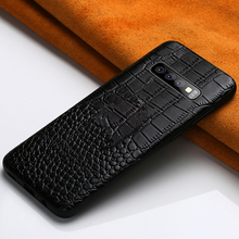 Full Grain Leather For Samsung S10 Plus Crocodile case S7/S7 Edge S8 S9 S7 Note 8 9 phone for s10 Lite cover