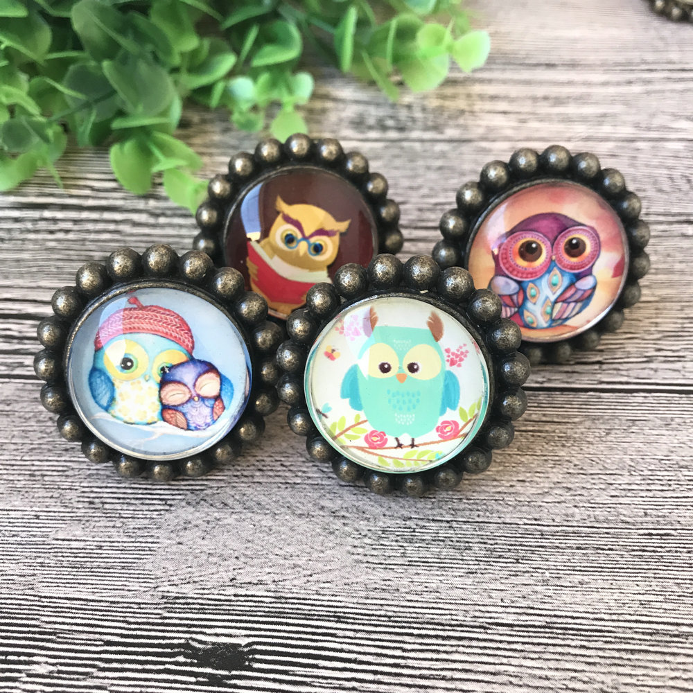 5 Pcs Cute Cartoon Owl Crystal Glass Clear Cabinet Knob Drawer Pull Handle Kitchen Door Wardrobe Kid's room Furniture Hardware 1 pair 4 inch stainless steel door hinges wood doors cabinet drawer box interior hinge furniture hardware accessories m25