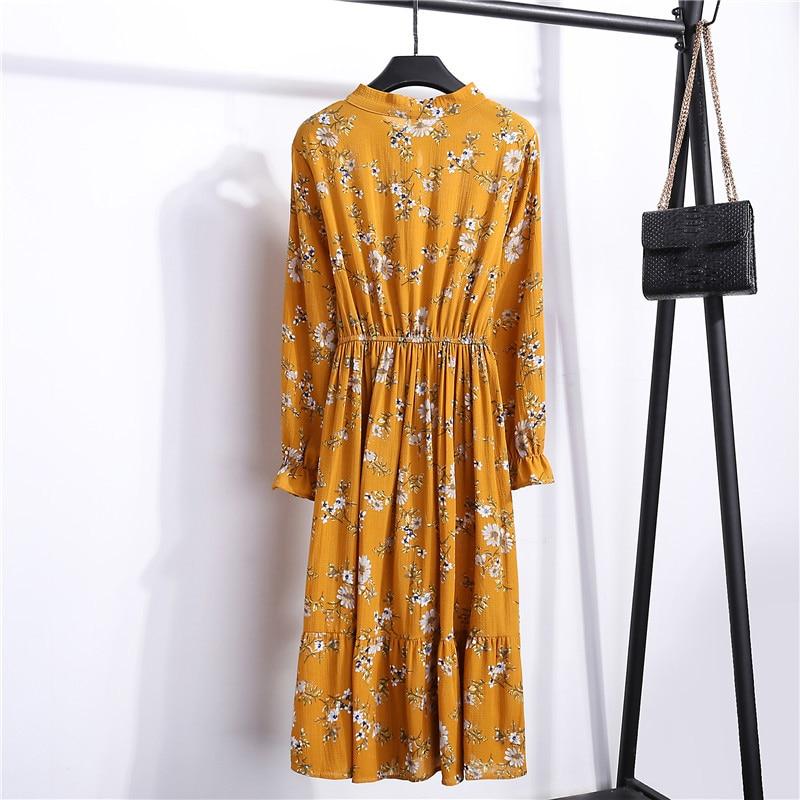 Summer Korean Chiffon Women Dress Elegant Ladies Vintage Long Dress Boho Floral Office Long Sleeve Vestidos Clothing 5LYQ003 45