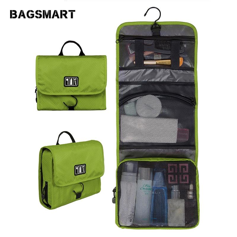 Trousse de toilette imperméable à l'eau de voyage BAGSMART avec cintre Emballage cosmétique Organisateur de lavage Trousse de maquillage Emballez votre valise à bagages