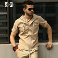 Summer Casual Mens Pilot Shirt Short Sleeve Patchwork Pocket Shirts Hoodies Fashion Military Style Shirts For Male