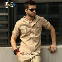 Summer Casual Mens Pilot Shirt Short Sleeve Patchwork Pocket Shirts Hoodies Outdoor Military Style Shirts For