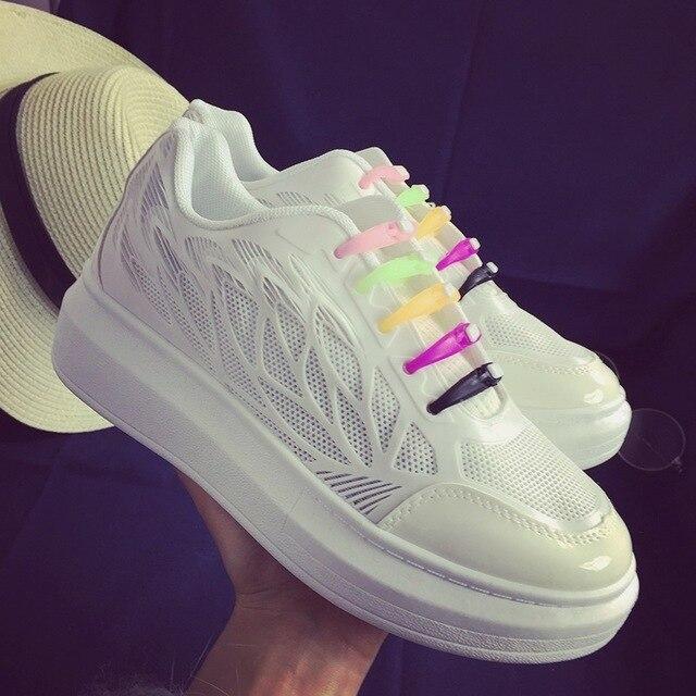 Весной и летом отдых обувь воздухопроницаемой сеткой обувь низкой обуви бисквит нижние толстые подошве белые туфли