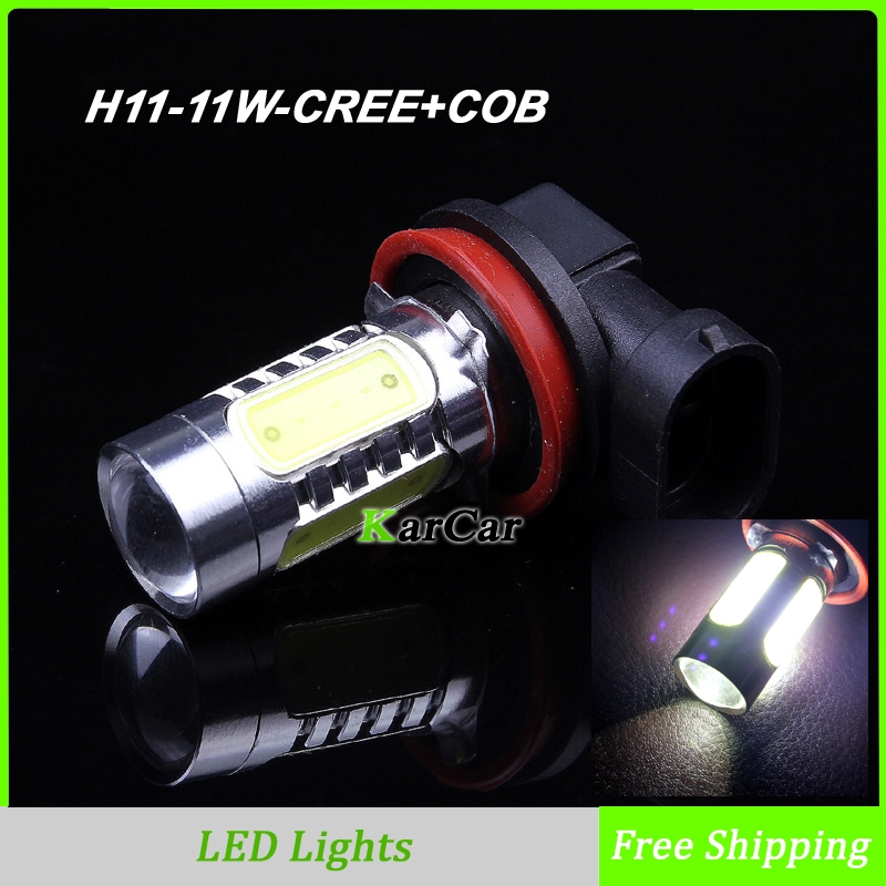 2PCS/Lot 11W H11 CREE Chip R5 + COB Chip with Lens LED Head Lights, High Bright Car Fog Light Bulbs Daytime Lights Free Shipping car motorcycle spotlight 12v 30w cree u3 inside led projector with bracket bigger lens lights 6500k ip68 daytime light c115c