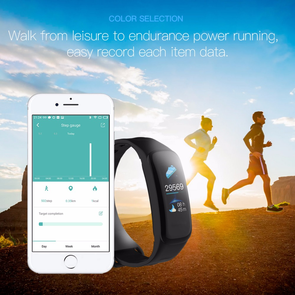 Lerbyee C1Plus Smart Bracelet Color Screen Blood Pressure Fitness Tracker Heart Rate Monitor Smart Band Sport for Android IOS 2